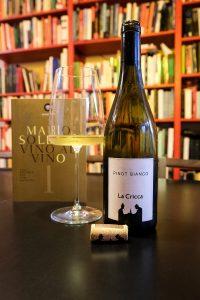 Bottiglia di vino La Cricca, bicchiere Zalto e libro di Mario Soldati