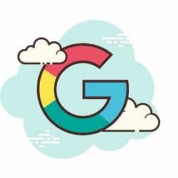 Simbolo grafico della G di Google in mezzo alle nuvole